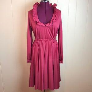 Vintage 70s Lt. Burgundy Pleated Disco Dress
